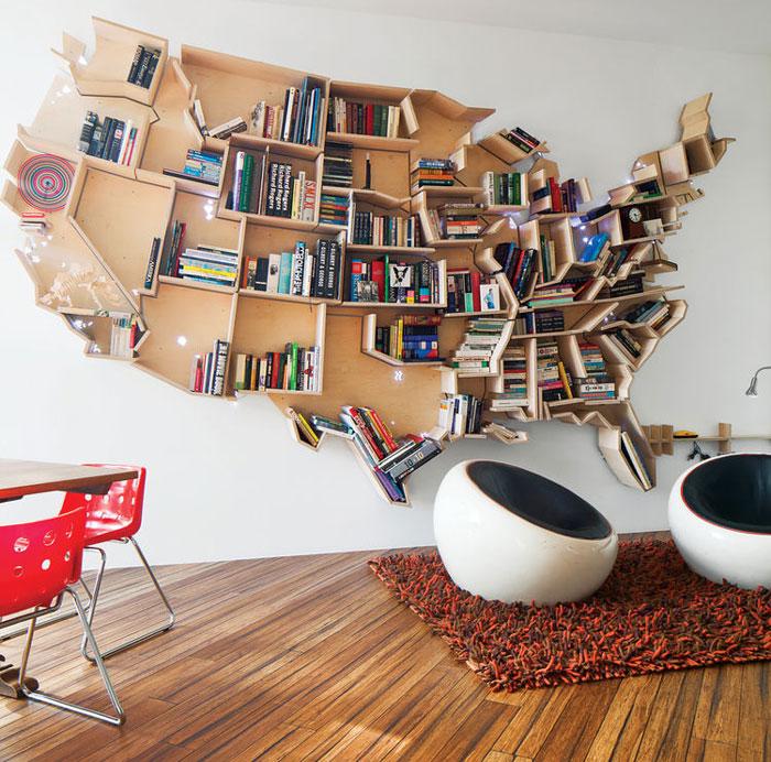 Knižnica v tvare USA