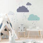 Modrá nástenná samolepka Ambiance Scandinavian Clouds