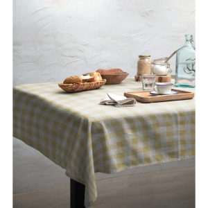 Obrus Linen Couture Yellow Vichy, 140 x 140 cm