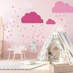 Ružová nástenná samolepka Ambiance Scandinavian Clouds