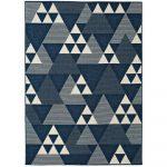 Modrý vonkajší koberec Universal Clhoe Triangles, 140 x 200 cm
