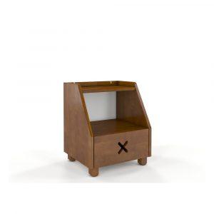 Nočný stolík z bukového dreva so zásuvkou a policou v dubovom dekore Skandica Visby Ustka
