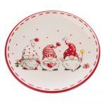 Červeno-biely keramický tanier s motívom trpaslíkov Dakls