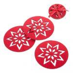 Sada 4 červených vianočných tácok Unimasa Snowflake