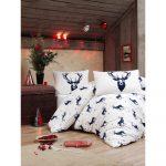 Obliečky s plachtou s prímesou bavlny na dvojlôžko Eponj Home Geyik Dark Blue, 200 × 220 cm