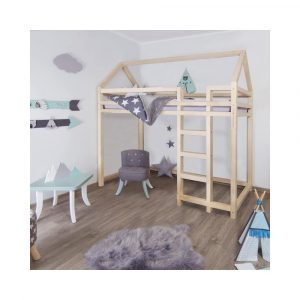Prírodná vyvýšená posteľ zo smrekového dreva s rebríkom vpravo Benlemi Nesty, 120 x 200 cm