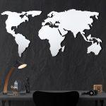Nástenná kovová dekorácia White Map, 60×120 cm
