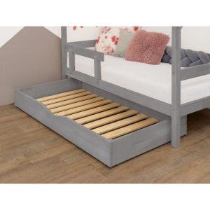 Sivá drevená zásuvka pod posteľ s roštom a plným dnom Benlemi Buddy, 70 x 140 cm