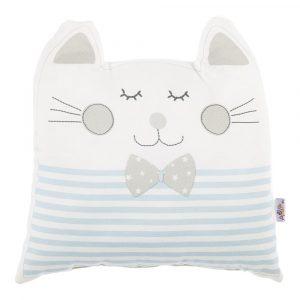 Modrý detský vankúšik s prímesou bavlny Mike&Co.NEWYORK Pillow Toy Big Cat, 29 x 29 cm