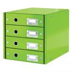 Zelená škatuľa s 4 zásuvkami Leitz Office, dĺžka 36 cm