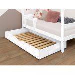 Biela drevená zásuvka pod posteľ s roštom Benlemi Buddy, 70 x 140 cm
