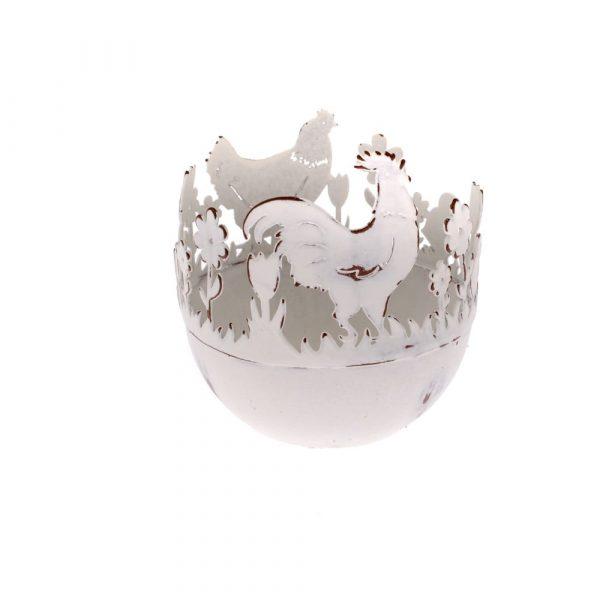 Kovový dekoratívny držiak na vajíčka s kuriatkami Dakls