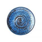Modrý keramický tanier Mij Copper Swirl, ø 25 cm