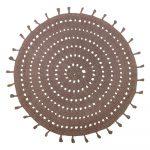 Hnedý bavlnený ručne vyrobený koberec Nattiot, ø 120 cm