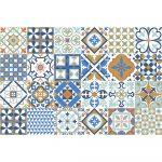 Súprava 24 nástenných samolepiek Ambiance Azulejos Ornaments Mosaic, 10 × 10 cm