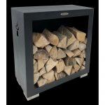 Čierny oceľový zásobník na drevo Remundi, šírka 79 cm