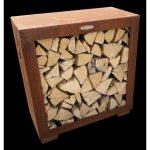 Hnedý oceľový zásobník na drevo Remundi, šírka 79 cm
