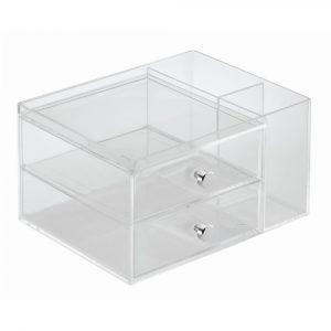 Transparentný organizér s 2 zásuvkami InterDesign, výška 12,7 cm