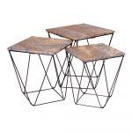Súprava 3 odkladacích stolíkov so sivou doskou z mangového dreva House Nordic Ranchi