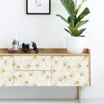 Bielo-žltá dekoratívna tapeta na nábytok Ambiance Hexoka