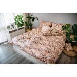 Hnedo-béžové obliečky z bavlneného saténu Cotton House Brenda, 140 x 200 cm