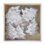 Sada 10 bielych vianočných ozdôb z kovu v tvare stromčeka Ego dekor Christmas Box