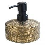 Keramický ručne maľovaný dávkovač na mydlo v zlatej farbe Wenko Rivara, 400 ml