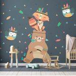 Detské samolepky na stenu Ambiance Bear Indian Happy