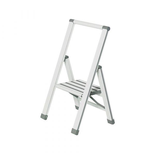 Biele skladacie schodíky Wenko Ladder Alu, 74 cm