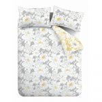 Bielo-sivé obliečky Catherine Lansfield Saskia Floral, 200 x 200 cm